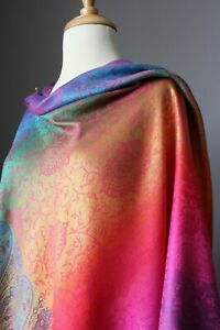 Paisley Pashmina Women Long Scarf Shawl Wrap Pink Rainbow Viscose Christmas Gift