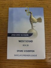 Billete De 07/04/2013: Tottenham Hotspur V Everton [West Soporte Caja Ejecutivo pasar].