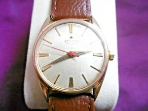 LOVELY VINTAGE GENTS ZENITH PILOT GOLD PLATED SWISS MECHANICAL WATCH