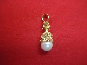 "14K YELLOW GOLD & FRESHWATER PEARL ""PINEAPPLE"" PENDANT - VERY NICELY DONE"