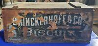 antique Wooden Biscuit Box brinckerhoff & co 19 5/8 x 8 1/8 hard to find
