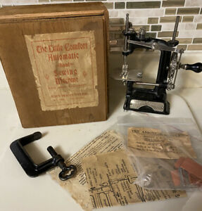 RARE Antique Smith & Egge Automatic Sewing Machine in Box With Clamp And Manuals