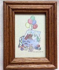 BUNNY Framed PRINT Bunnies RABBITS Balloons TOY BOX Blocks Bear MINIATURE Child