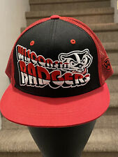 Wisconsin Badger Snapback Trucker Hat Red and Black with Bold Embroidery