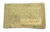 1777 Philadelphia Eighteen Pence Colonial Banknote Printed by John Dunlap