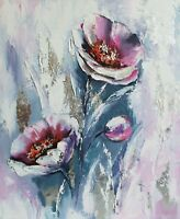 Flower original oil painting on canvas Pink flowers art Floral painting Abstract