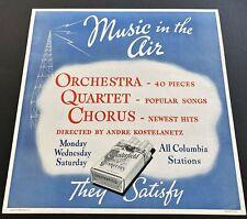 1937 Andre Kostelanetz Music Cbs Radio Show Chesterfield Advertising Poster