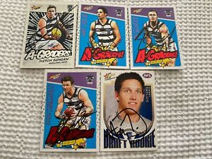 GEELONG CATS SIGNED A-GRADERS AND HARRY TAYLOR ROOKIE CARDS X5