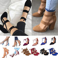 Womens High Heel Strap Ankle Block Sandal Chunky Party Dress Peep Toe Shoes Size