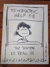 Vintage Peanuts Cartoon Lucy Psychiatrist Charles Schulz Print B&W Poster