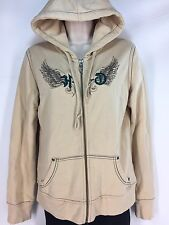 Harley Davidson Hoodie Top Women's S Wing Embroidered Full Zip Sweatshirt Cream