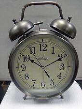 BULOVA -BRAYTON- OVERSIZED ALARM CLOCK , ANTIQUE BRONZE FINISH  B6847