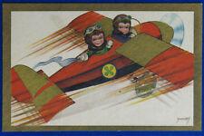 AUGURALE  Bambini piloti in aeroplano no viaggiata,firmata mp 1934  f/p#17233