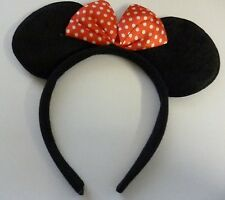 Childrens Black Felt Mouse Ears On A Headband With Red Spotty Bow (HL10)