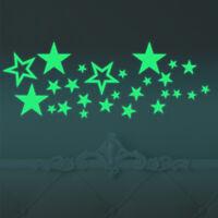 Sterne 27er Set Aufkleber nachts leuchtend Deko Sticker fluoreszierend Schnuppe