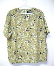 Vtg Notations Silky Short Sleeve Floral Print Pullover Blouse Women's 16 L/Xl