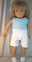 """Doll Clothes Made 2 Fit American Girl 18"""" Pant Set White Blue Floral"""
