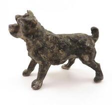 Adorable Miniature Antique Spelter Long Hair Schnauzer Pug Mix Dog Figurine