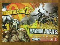 Borderlands 2 Xbox 360 PS3 PC 2012 Fold-out Poster Official Promo Art Rare
