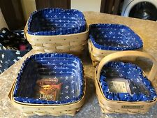 Set Of 4 Square Longaberger Baskets With Liner Protector Hostess Apprec 1990s