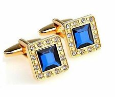 9K Gold plated Cufflinks Vintage Square Cuff Links Blue Crystal Tie Clip SQR02