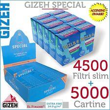 5000 Cartine GIZEH SPECIAL CORTE EXTRA FINE 100 pz + 4500 FILTRI RIZLA SLIM 6 mm