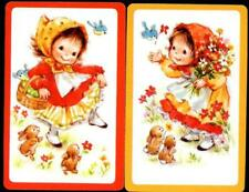 VINTAGE SWAP CARDS  CUTE LITTLE GIRL WITH RABBITS  NEW CONDITION