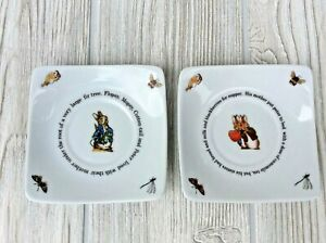 2 Peter Rabbit Square Trinket Plates Saucers Barnes & Noble 2010