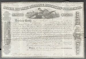 MUTUAL DEPOSITE INSURANCE ASSOCIATION of PHILADELPHIA Stock 1855. Philadelphia