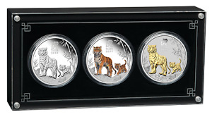 2022 LUNAR SERIES III YEAR OF THE TIGER 1oz SILVER TRIO $1 3-coin Set 3oz-total