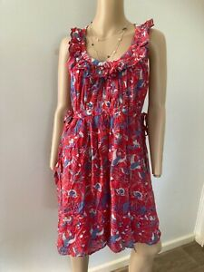 FRENCH CONNECTION red s/less bird print cotton blend dress ruffled neck 14 EUC