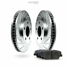 Front Drilled Slotted Brake Rotors and Brake Pads For 2012-2012 Dodge Challenger