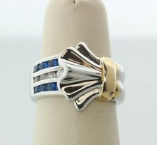 Sterling Silver 925 Blue and White CZ Gold Detail Gathered Fan Ring - Size 6