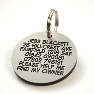Engraved Plastic Dog tag plastic 39mm 7 colour options personalised both sides