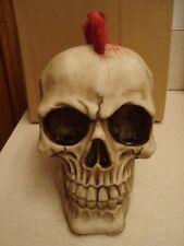 Punk Mohawk Resin Skull Statue