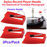 3Pcs Diamond Replacement Stylus Record Player Needle For LP Turntable Phonograph