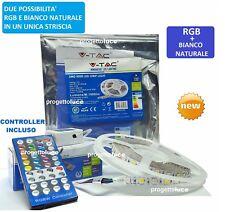 STRISCIA LED  V-Tac SMD Bobina 5mt Strip 5050 SMD RGB + BIANCO 4000K  IP20