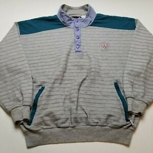 Vtg Lake Placid Winter Olympics USA Sweatshirt Mens M Snap Button Gray 90s C17