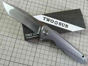 TWOSUN TS293 FAST OPEN BALL BEARING TITANIUM 14C28N POCKET KNIFE U.S. SHIPPING