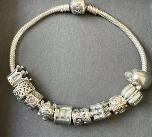Pandora Armband 20cm mit 10 Charms-925 Silber - Modern Mit Totenkopf - Herren