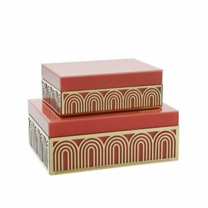 """Upscale & Modern Set of 2 Wood 8/9"""" Box W/ Arch Design, Coral/Gold"""