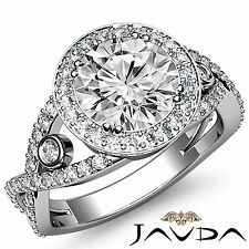 Halo Pre-Set Round Diamond Engagement Ring GIA F Color VS1 18k White Gold 2.9ct