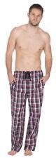 Hombre Pijama Pantalones Cómodos de Chándal Largo Elástico Azul Cuadros Rojos