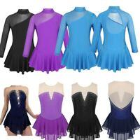 Girls Sparkly Skating Dress Costume Mock Neck Tulle Leotards Ballet Dancewear