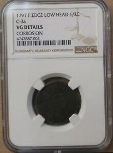 1797 PLAIN EDGE, LOW HEAD, C-3A LIBERTY CAP HALF CENT NGC VG DETAILS CORROSION