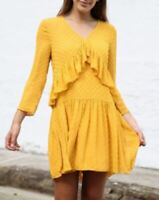 Seed mustard yellow frill long sleeve dress - NWOT - 12