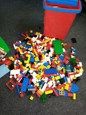 vintage mixed lego storage box with lego and 3 characters