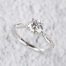 0.90 Ct Round D VVS1 Diamond 14k White Gold Over Twist Solitaire Engagement Ring