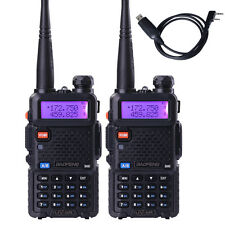 2PCS BAOFENG UV5R Ham Radio Dual Band 2 Way Walkie Talkie 128CH + Program Cable