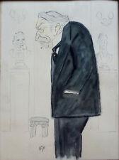 Georges BREITEL dit BIB / Caricaturiste / Aquarelle Portrait de Aristide BRIAND
